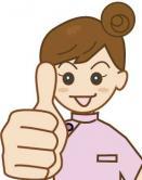 親指を突き出した女性施術師のイラスト