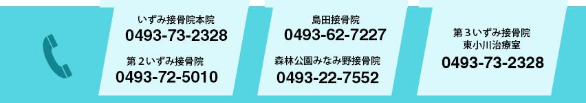 いずみ接骨院電話番号 いずみ接骨院本院0493-73-2328